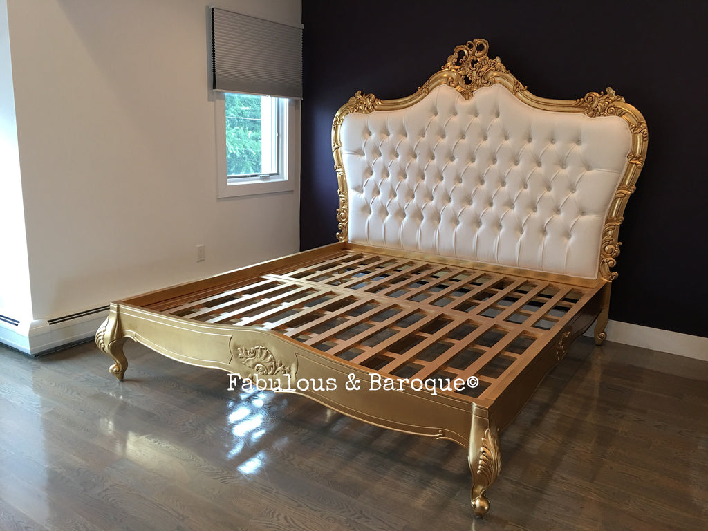 Babette Bed - Gold & White Velvet - Client Photo