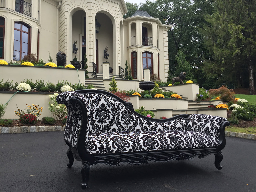Marguerite Chaise - Black with Damask - Client Photo