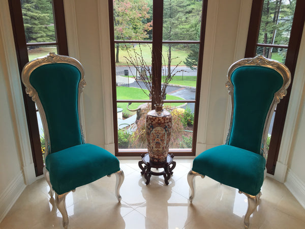 Dauphine Chair - Silver & Turquoise Velvet - Client Photo