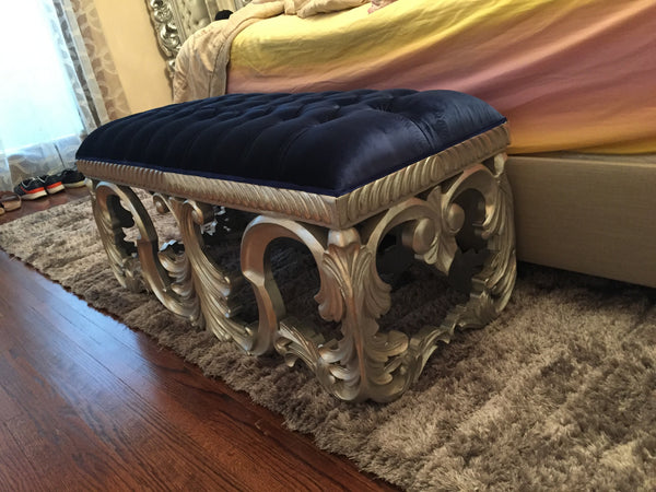Simone Bench - Silver & Royal Blue - Client Photo