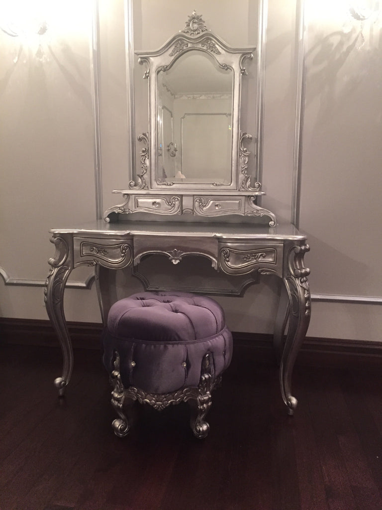 Gryphon Reine Dressing Table Pouf Chair - Silver & Grey - Client Photo