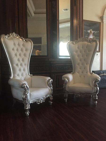 Gryphon Reine Chair - Silver Leaf & White Leatherette - Client Photo