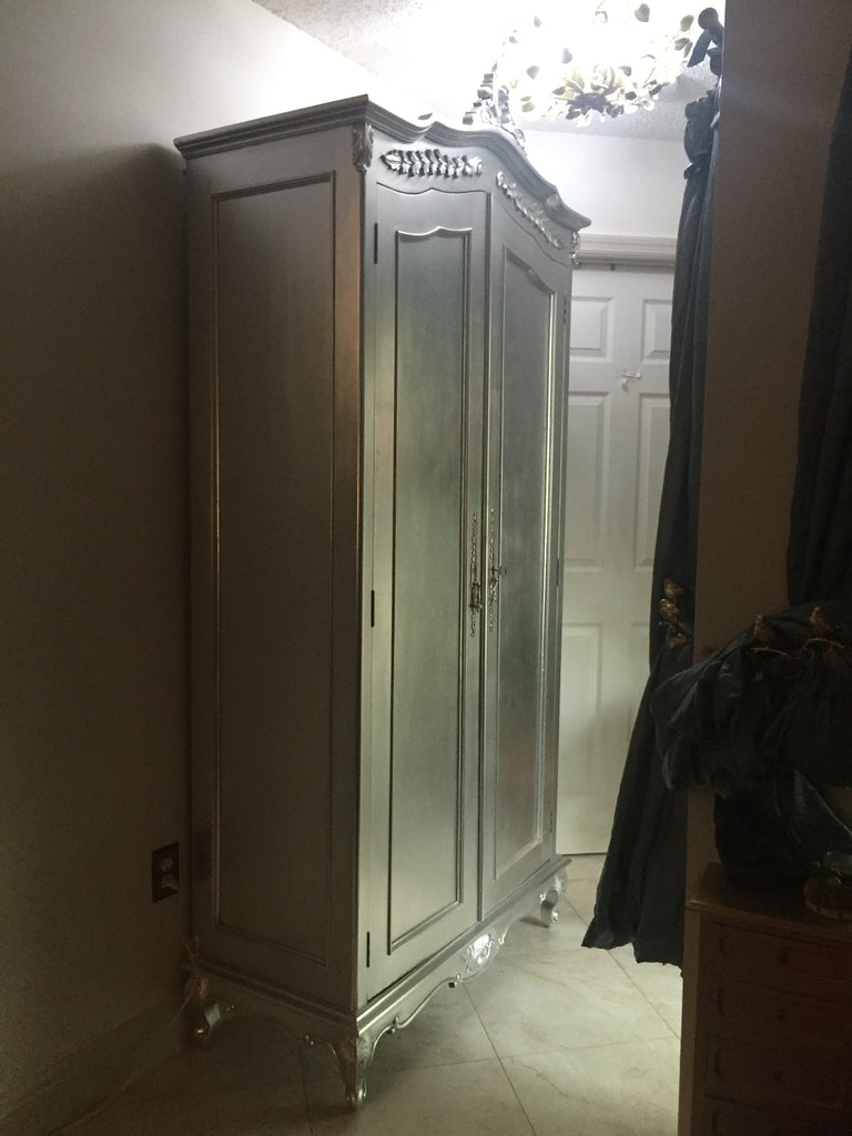 Cateline French Large Wardrobe - Silver Leaf - Client Photo