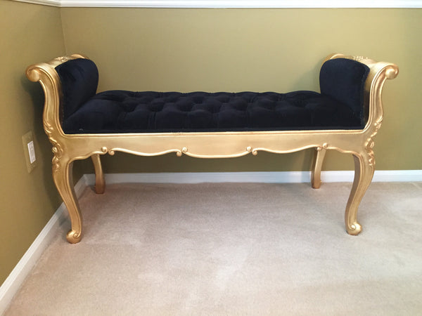 Isadora French Upholstered Bench - Black & Gold - Client Photo