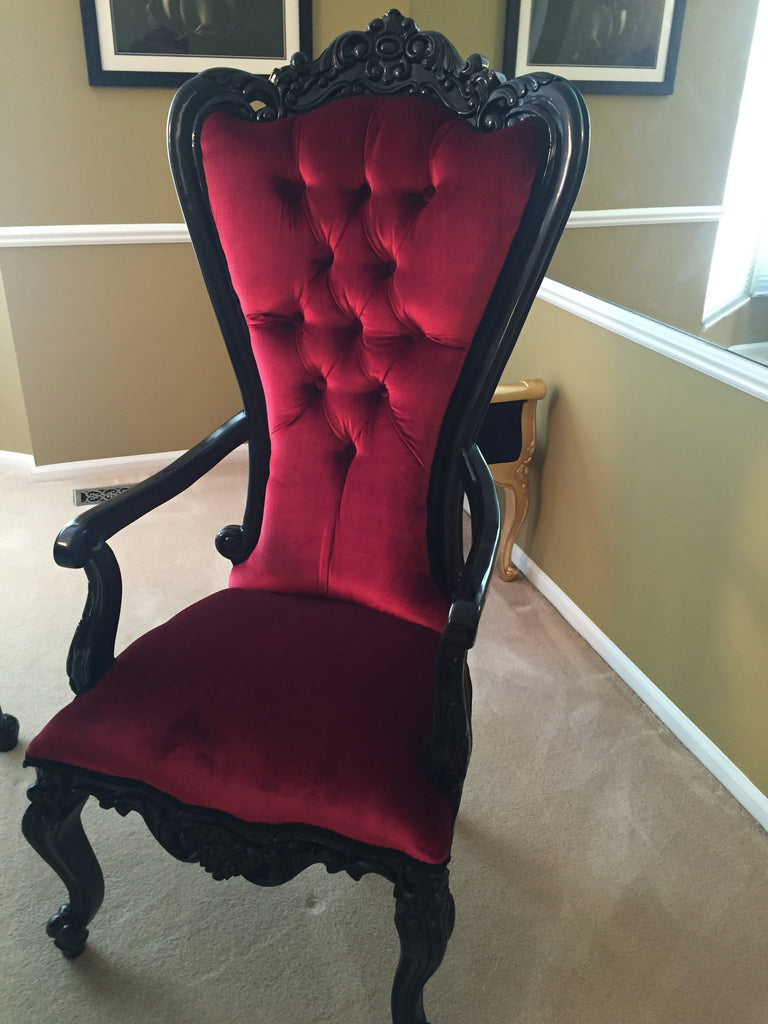 Absolom Roche Arm Chair - Black & Red Velvet - Client Photo