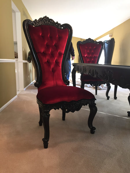 Gryphon Reine Side Dining Chair - Black & Red Velvet - Client Photo