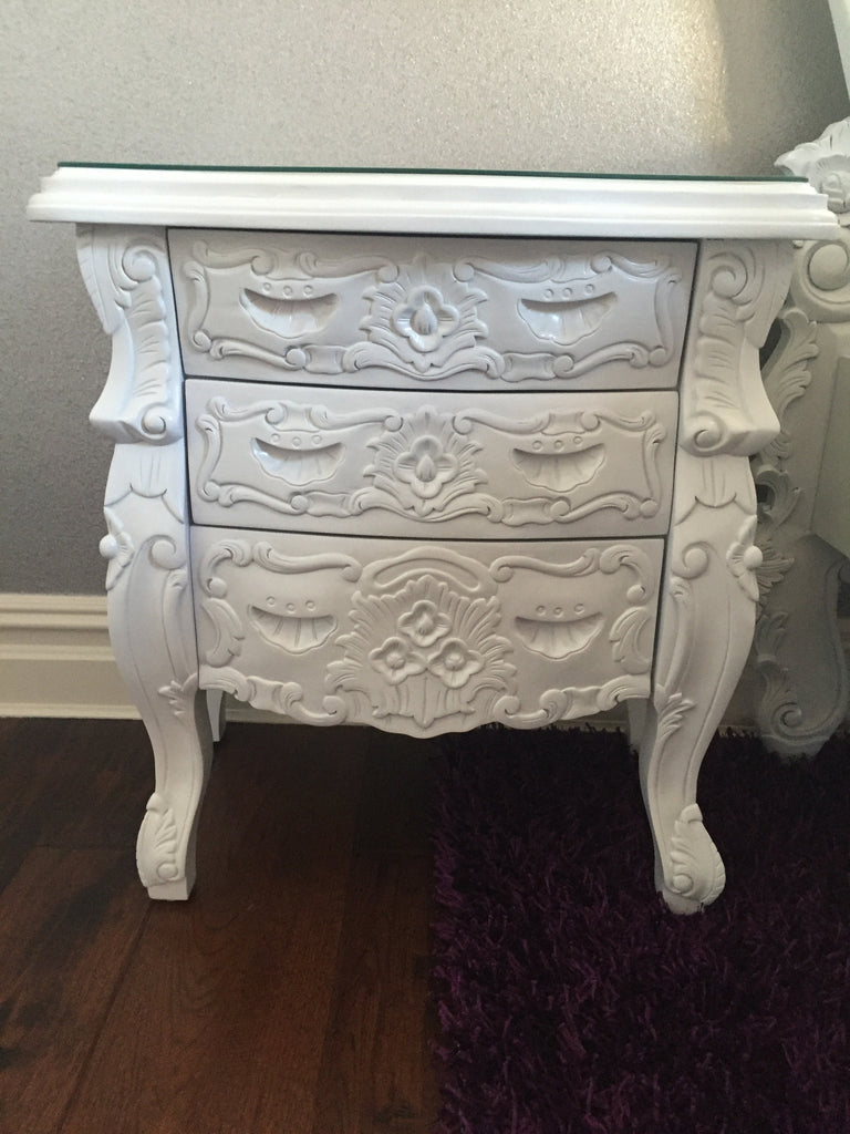 Fabulous & Rococo Side Table - White Lacquer - Client Photo