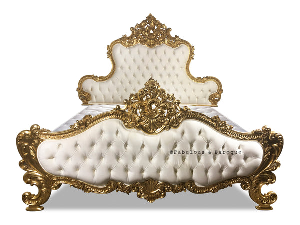 Kamal Upholstered Bed - Gold & Cream