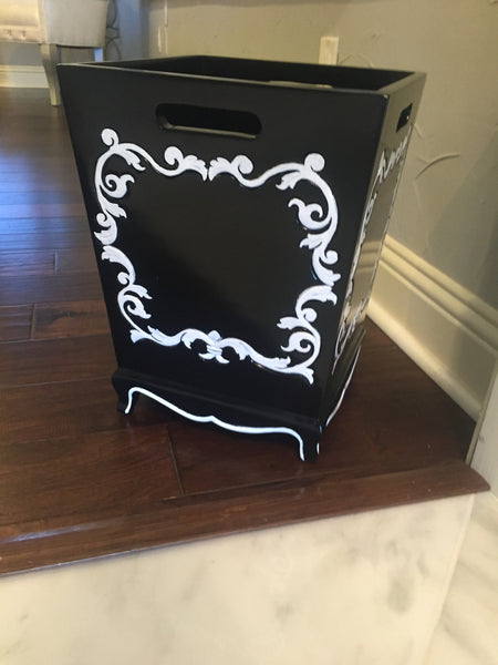 Arabella Baroque Waste Bin - Black & White - CLIENT PHOTO