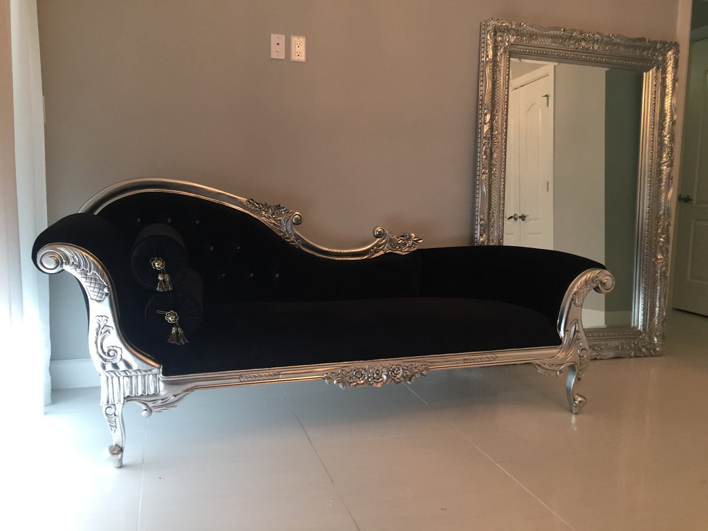 Queen Anne's Revenge Chaise - Black & Silver-CLIENT PHOTO