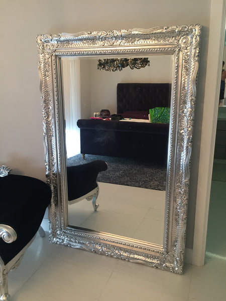 Grand Beau Wall Mirror 6ft x 4ft- Silver Leaf- CLIENT PHOTO