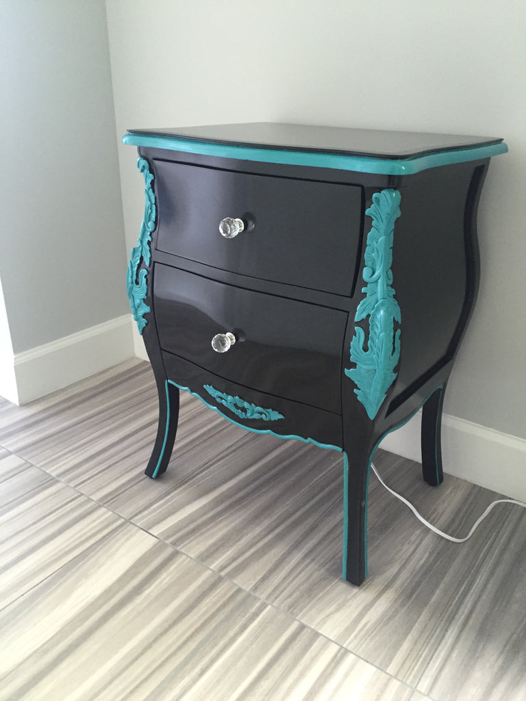 Bordeaux Side Table - Black & Aqua Mist- CLIENT PHOTO