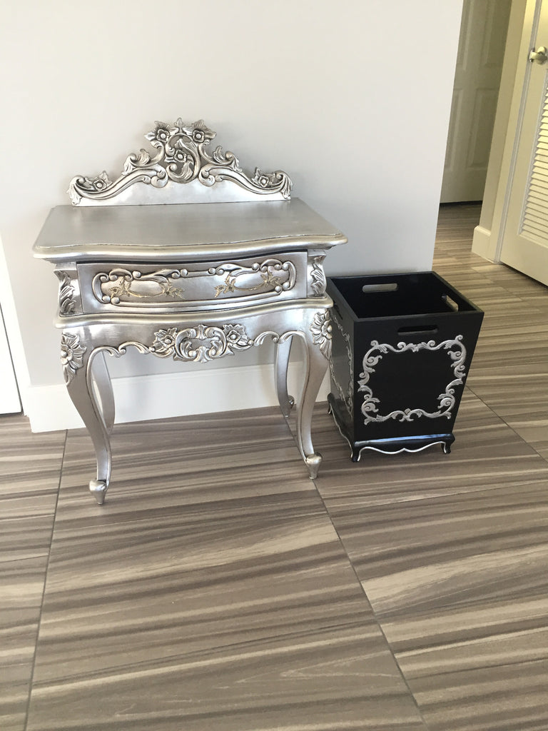 Royal Fortune Montespan Side Table - Silver Leaf-CLIENT PHOTO