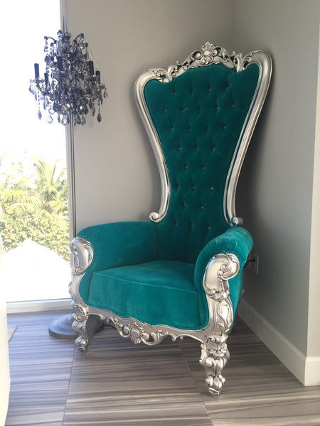 Gryphon Reine Chair - Silver & Turquoise Velvet- CLIENT PHOTO