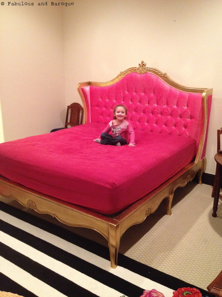 Amelie Tufted Pink Baroque Upholstered Bed Gold Leaf