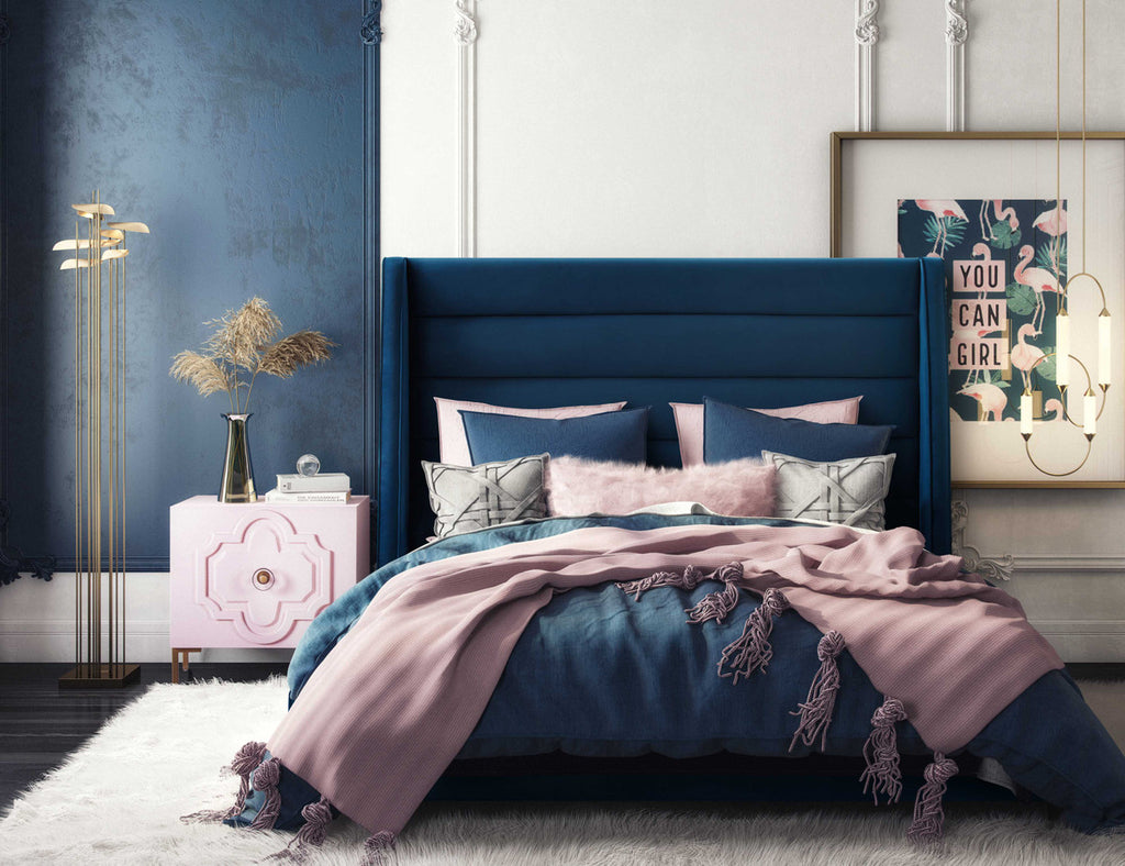 Koah Velvet Bed - Available in Navy, Grey & Blush