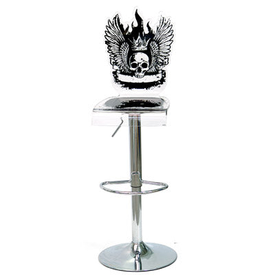 Let's Rock Barstool - Black w metal adjustable pedestal base