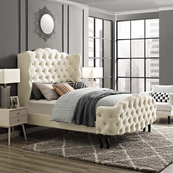 VIOLET QUEEN CREAM TUFTED WINGBACK VELVET PLATFORM BED
