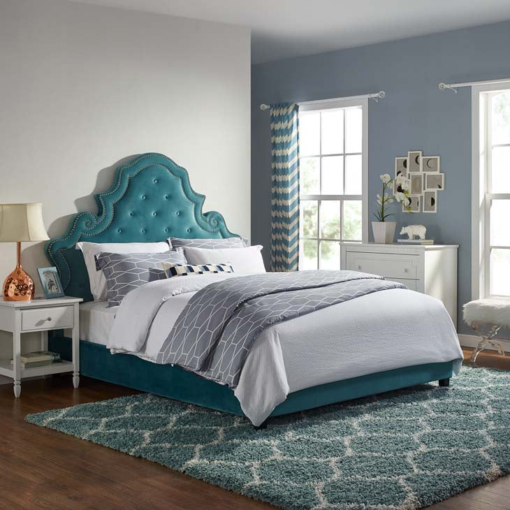 Valentina Queen Tufted Nailhead Bed - Available in Sea Blue, Grey, Navy, Maroon & Ivory