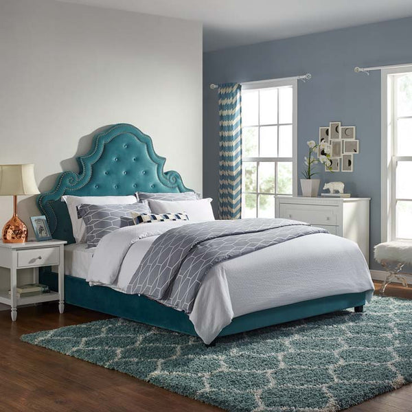 Valentina Queen Tufted Nailhead Performance Velvet Nailhead Bed