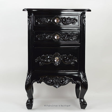 Rosetta French 3 Drawer Side Table - Black