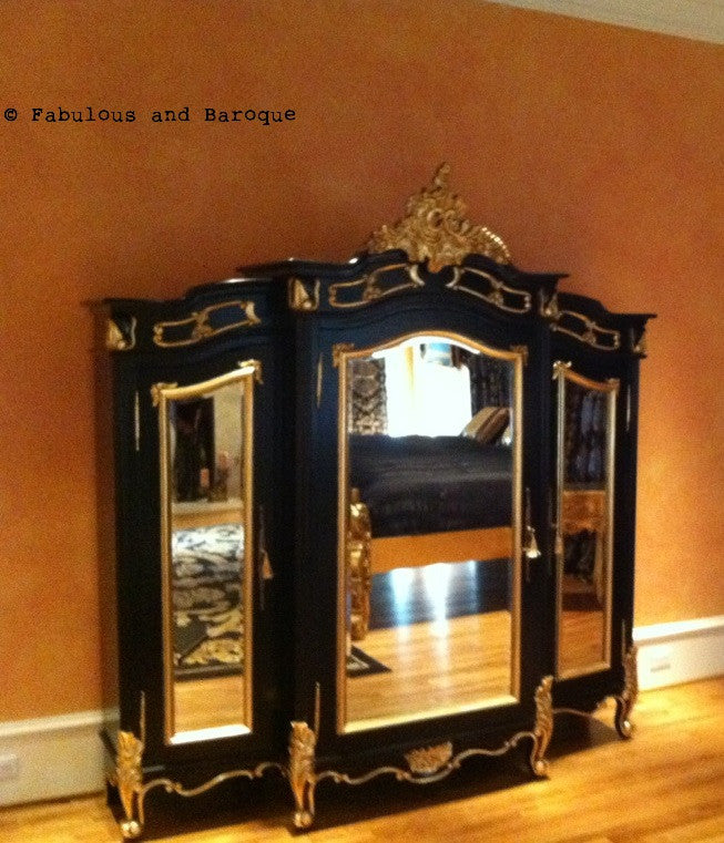 Micheline 3 Door Mirrored Armoire - Black & Gold Leaf - Client Photo