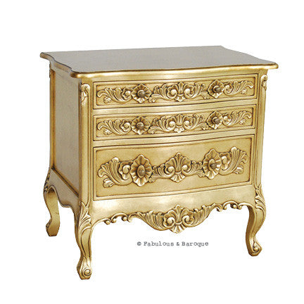 Rosetta French 3 Drawer Grand Side Table - Gold Leaf