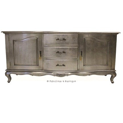 Lucia 3 Drawer Sideboard with Cupboards - Silver Leaf