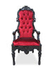 Noblesse Tufted Arm Chair - Black & Red Velvet