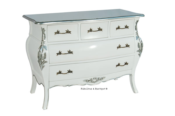 Bordeaux Bombay 5 Drawer Chest - White & Silver
