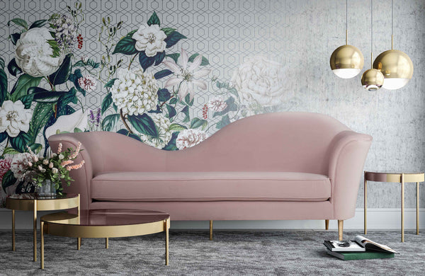 Plato Velvet Sofa *Available in Blush Aqua & Grey*