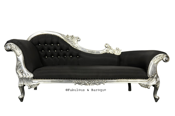 Queen Anne's Revenge Chaise - Black & Silver