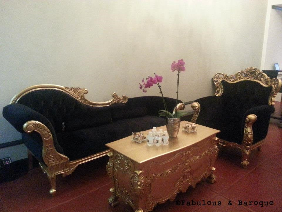 Queen Anne's Revenge Chaise - Black & Gold Client Photo