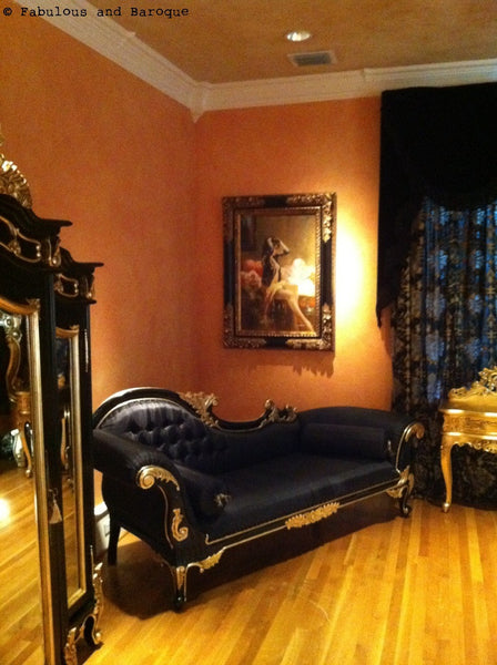 Queen Anne's Revenge Chaise - Black and Gold - Client Photo