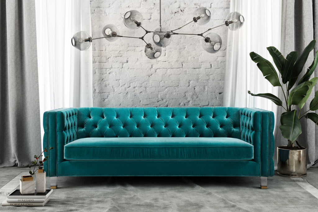 Rimini Velvet Tufted Sofa *Available in Green & Grey* – Fabulous and ...