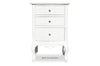 Rosetta French 3 Drawer Side Table - White