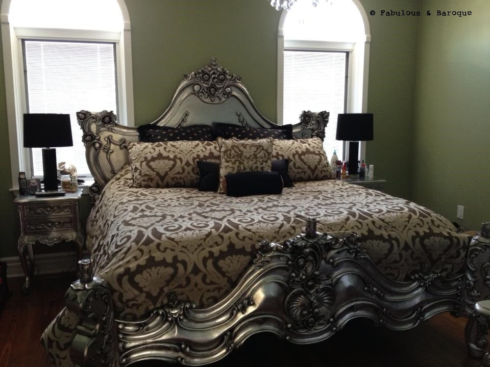Royal Fortune Montespan Bed - Silver Leaf - Client Photo