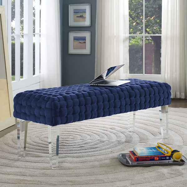 Sal Woven Velvet Bench w/ Lucite Legs *Available in Navy & Grey