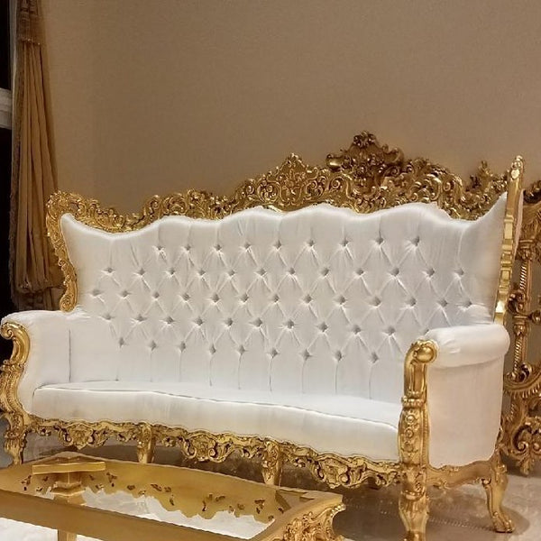 "Dior 96"" Curved Sofa - Gold Leaf & White Silk"