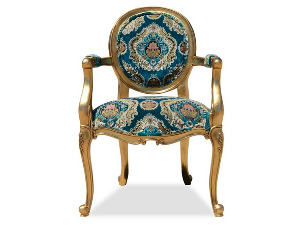 Angelique Armchair  Gold Leaf W/ Turquoise Tapestry