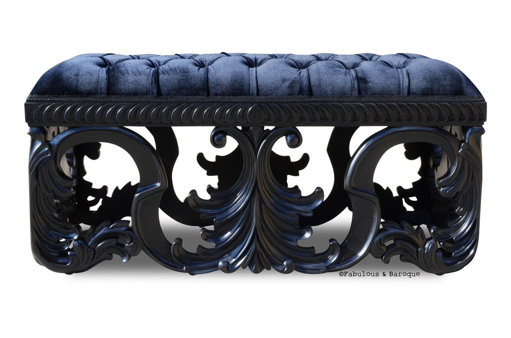 Simone Velvet Upholstered Bench - Black