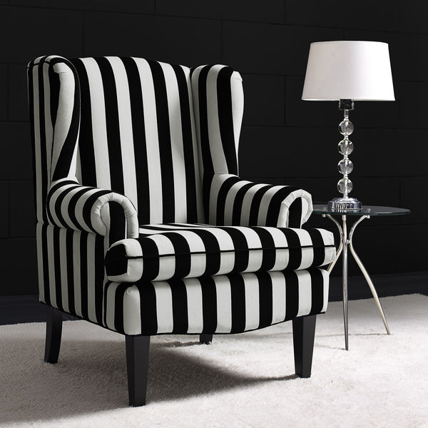 Paris Velvet Wingback Chair - Black & White Striped