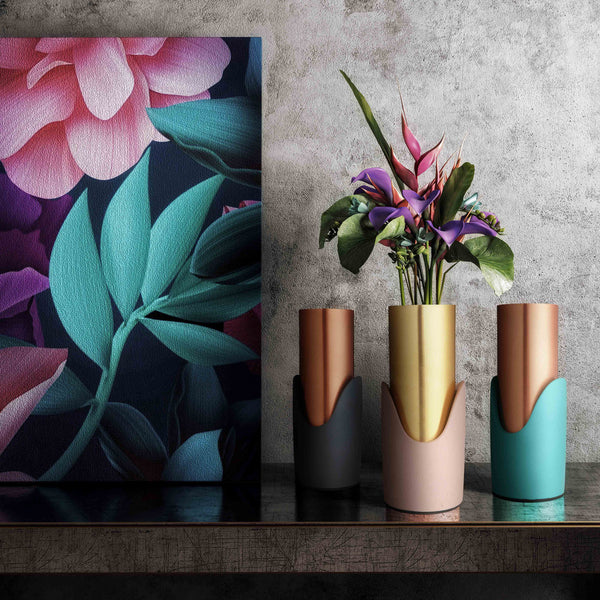 Concrete & Metallic Vase - Available in Grey, Blush & Teal