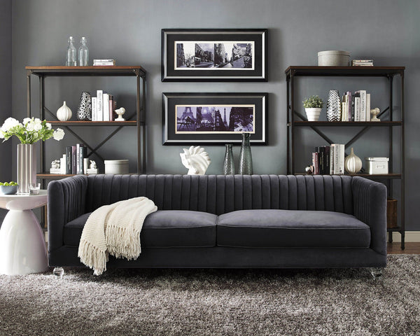 Aviator Grey Velvet Sofa