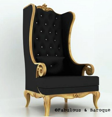 Fabulous and Baroque's Theban Chair - Gold & Black Velvet