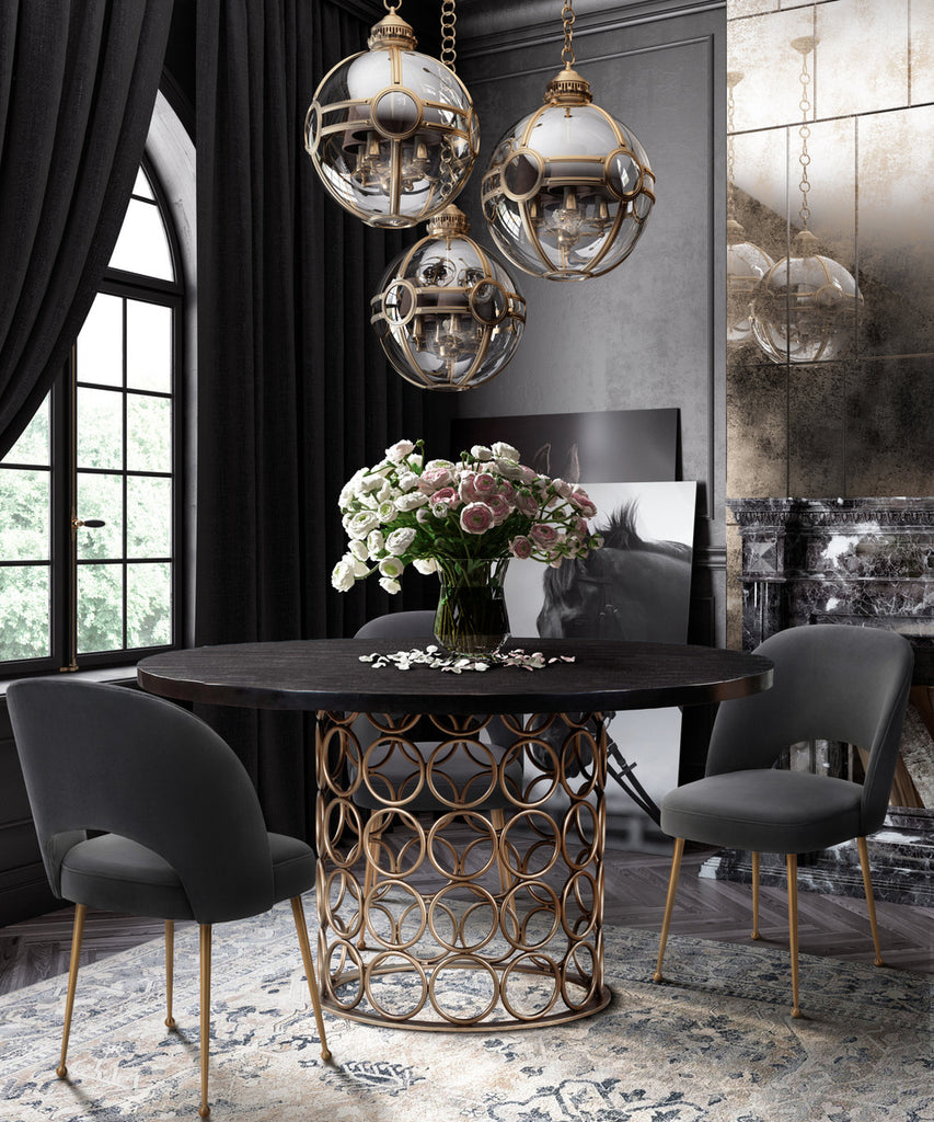 Valentina Brass Round Dining Table