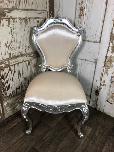 Versailles Side Chair - Silver leaf & ivory velvet