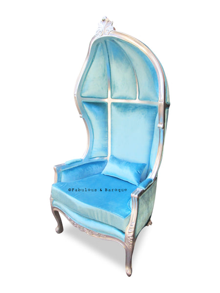 Fabulous & Baroque's Victoire Balloon Chair - Silver leaf & Sky Blue Velvet