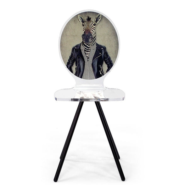 Graph Chair - Zebra in Leather Jacket with metal legs