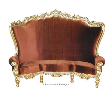 "Fabulous and Baroque's Gryphon Reine 96"" Curved Sofa - Gold Leaf & Amber Velvet"